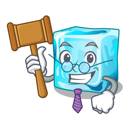 Judge ice cubes on the cartoon funny vector illustration