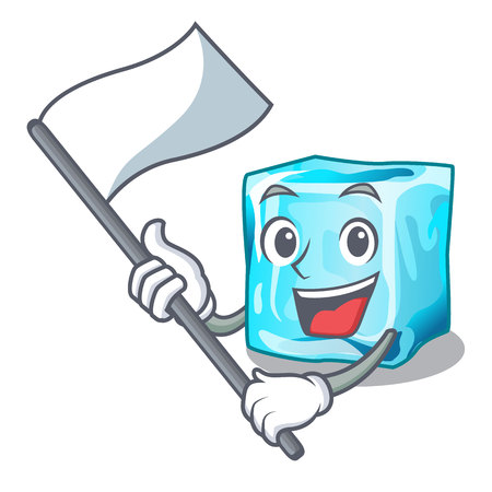 With flag ice cubes on the cartoon funny vector illustration