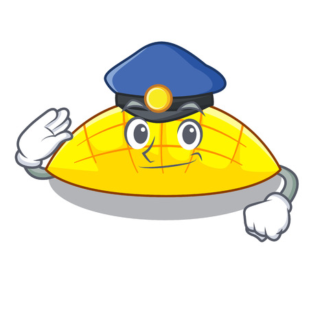 Police mango slices isolated on the mascot vector illustration