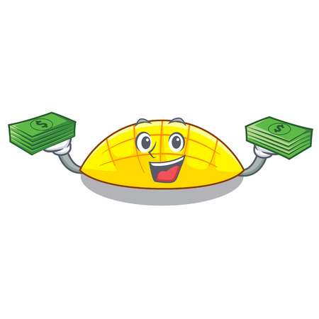 With money slice mang on the caharacter shape vector illustration 일러스트