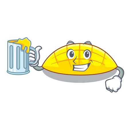 With juice slice mang on the caharacter shape vector illustration