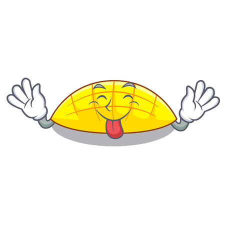 Tongue out slices mango on with cartoon funny vector illustartion Illustration