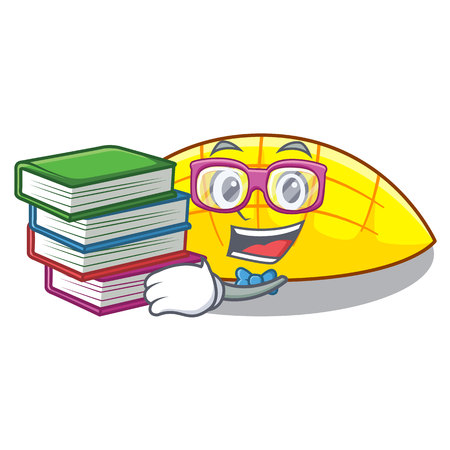 Student with book slices mango on with cartoon funny vector illustartion