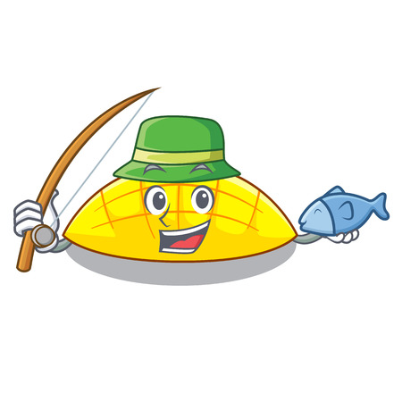 Fishing slice mang on the caharacter shape vector illustration