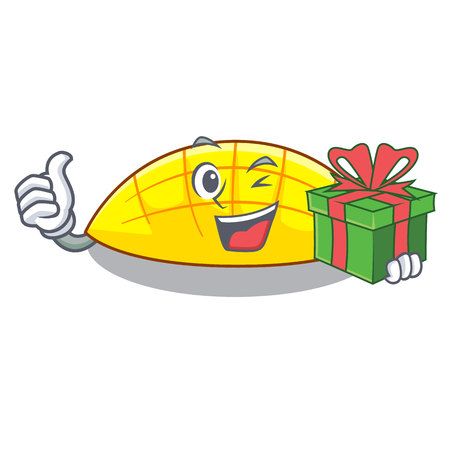 With gift slice mang on the caharacter shape vector illustration 일러스트