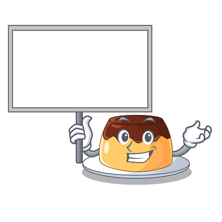 Bring boarddelicious chocolate pudding with on cartoon vector illustration Çizim