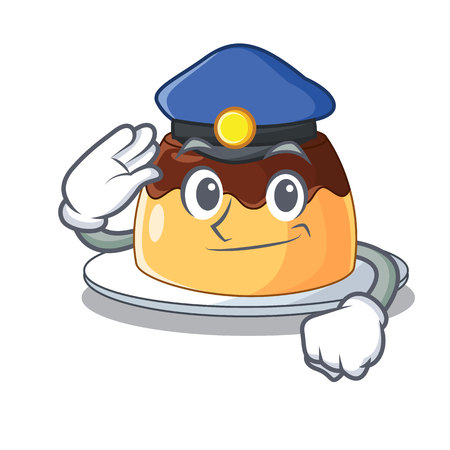 Police delicious chocolate pudding with on cartoon vector illustration Illustration