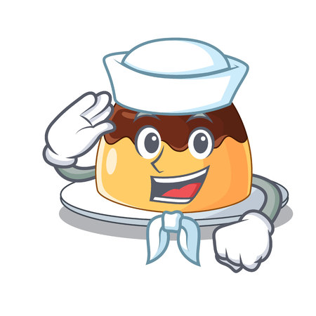 Sailor delicious chocolate pudding with on cartoon vector illustration Illustration