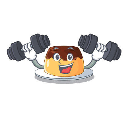 Fitness delicious chocolate pudding with on cartoon vector illustration