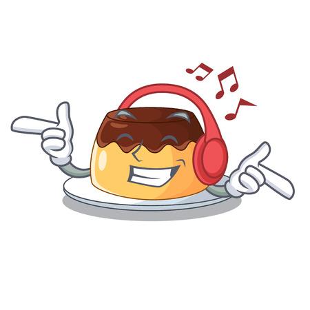 Listening music caramel chocolate pudding on cartoon funny Stock Illustratie