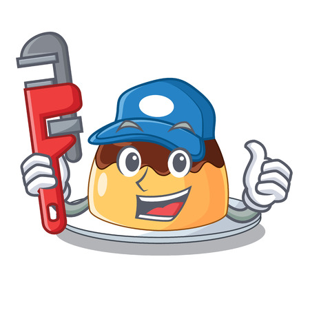 Plumber chocolate coffee pudding isolated on mascot vector illustration Çizim