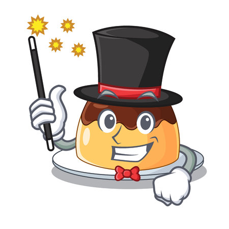 Magician chocolate coffee pudding isolated on mascot vector illustration