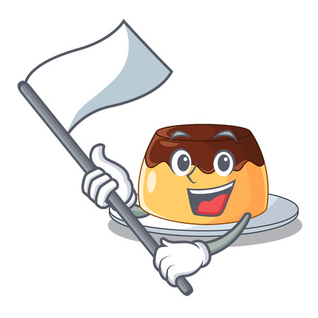 With flag chocolate coffee pudding isolated on mascot vector illustration