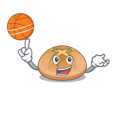 With basketball hot cross buns on cutting cartoon vector illustration