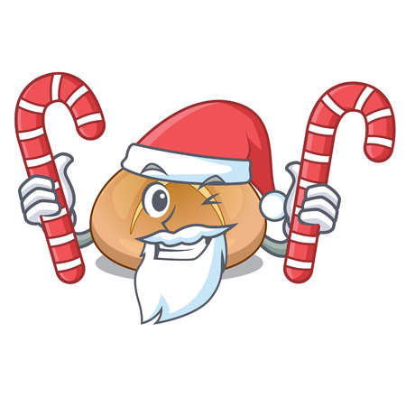 Santa with candy hot cross buns isolated on mascot vector illustrasi