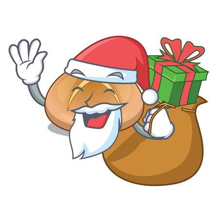 Santa with gift hot cross buns isolated on mascot vector illustrasi Stock Illustratie