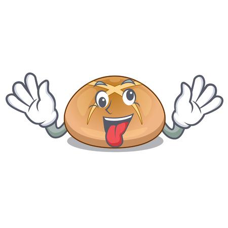Crazy hot cross buns isolated on mascot vector illustrasi