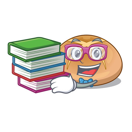 Student with book hot cross buns isolated on mascot vector illustrasi