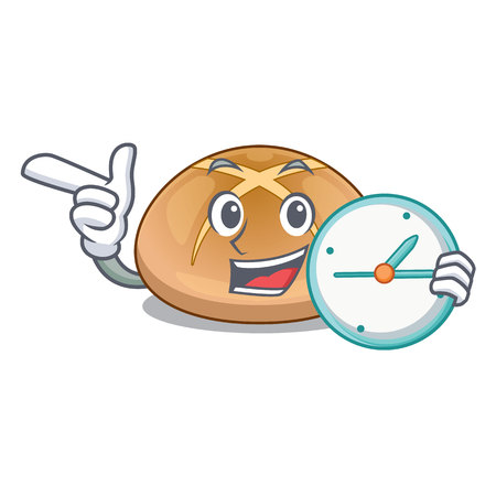 With clock the hot cross buns character homemade Vector Illustratie