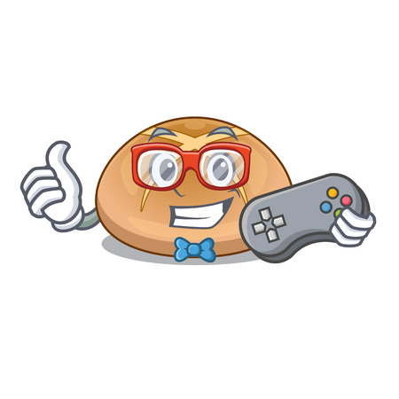 Gamer cartoon with buns traditional hot cross Illustration