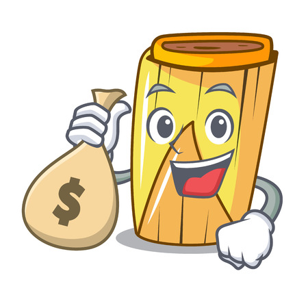 With money bag homemade wrapped tamales Isolated on mascot vector illustration