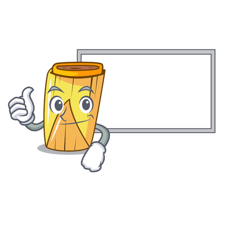 Thumbs up with board homemade wrapped tamales Isolated on mascot vector illustration
