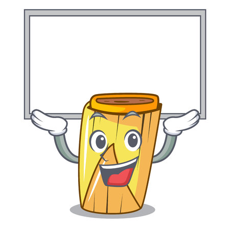 Up board homemade wrapped tamales Isolated on mascot vector illustration  イラスト・ベクター素材