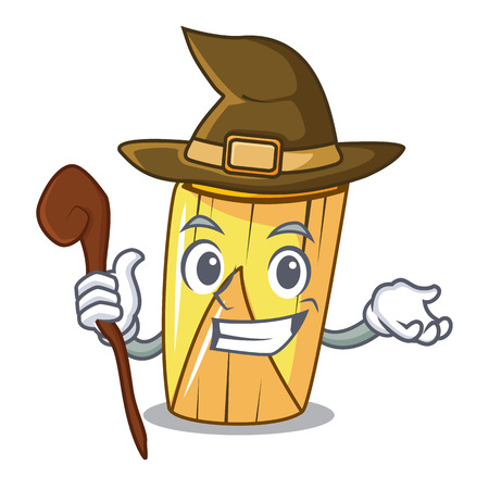 Witch traditional mexican food dishes tamales character vector illustration