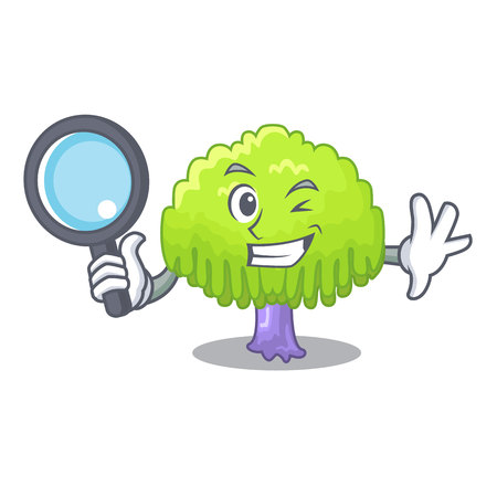 Detective drawing of willow tree shape cartoon vector illustration