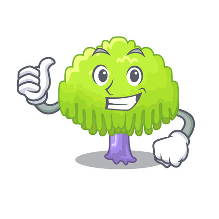 Thumbs up drawing of willow tree shape cartoon vector illustration