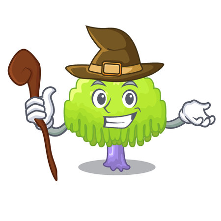 Witch green tree willow on the character vector illustrstion