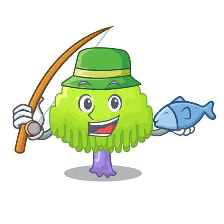 Fishing green tree willow on the character vector illustrstion