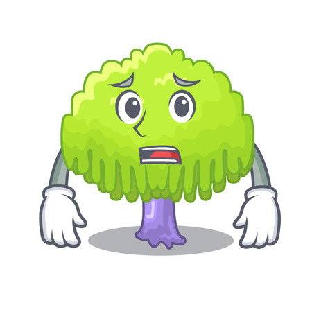 Afraid green tree willow on the character vector illustrstion