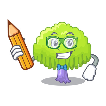 Student drawing of willow tree shape cartoon vector illustration
