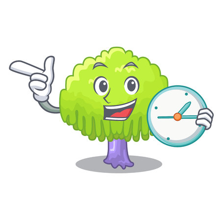 With clock drawing of willow tree shape cartoon vector illustration