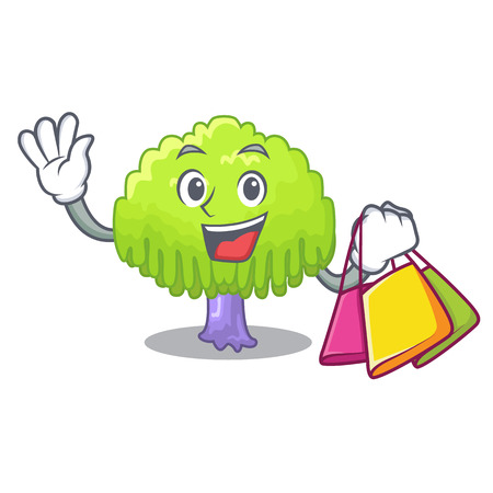Shopping drawing of willow tree shape cartoon vector illustration