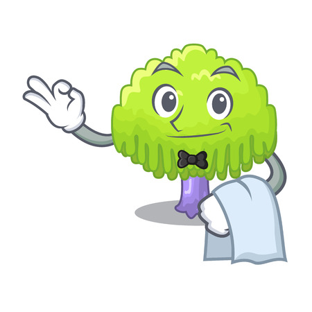 Waiter green tree willow on the character vector illustrstion