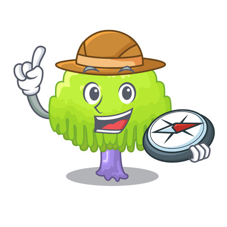 Explorer green tree willow on the character vector illustrstion