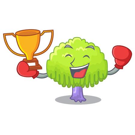 Boxing winner willow tree branch for frame cartoon vector illustration Illustration