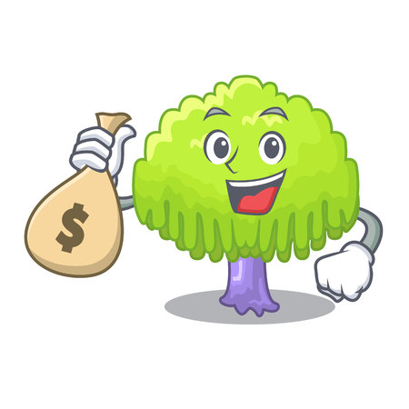 With money bag isolated weeping willow on the mascot vector illustration