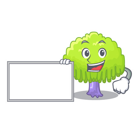 With board isolated weeping willow on the mascot vector illustration