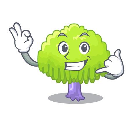 Call me willow tree branch for frame cartoon vector illustration Illustration