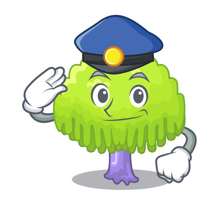 Police isolated weeping willow on the mascot vector illustration