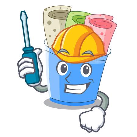 Automotive ice cream roll small depth mascot vector illustration Illustration