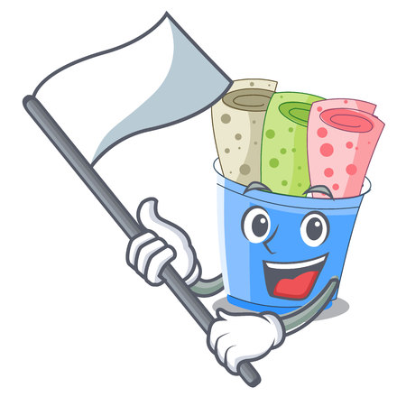 With flag ice cream roll small depth mascot vector illustration
