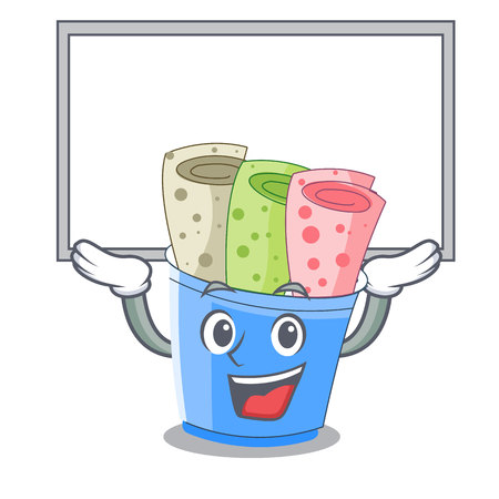 Up board rolled ice creams in cartoon cups vector illustration