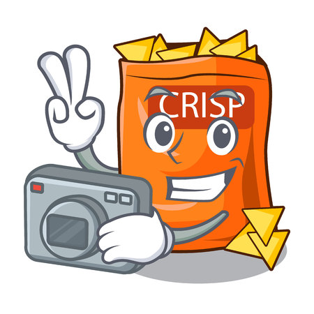 Photographer crispy chips snack on a character vector illustration Illustration