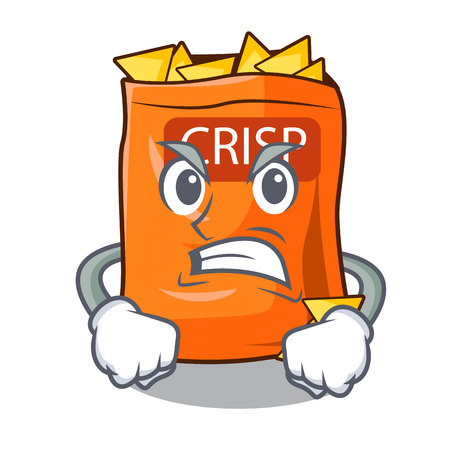 Angry crispy chips snack on a character vector illustration  イラスト・ベクター素材