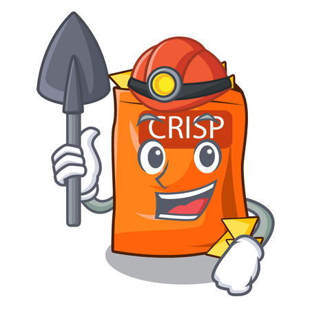 Miner crispy chips snack on a character vector illustration
