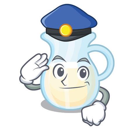 Police natural milk jug in a cartoon vector illustration